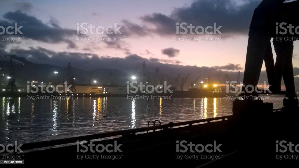 Port landscape at sunset. Port cranes. royalty-free stock photo