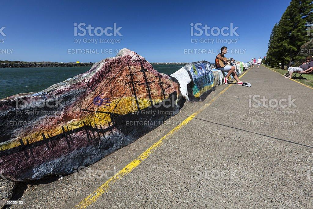 Port Macquarie busker stock photo