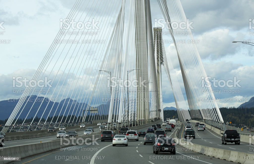 Port Mann Bridge and Trans-Canada Highway Traffic in Metro Vancouver in Autumn stock photo