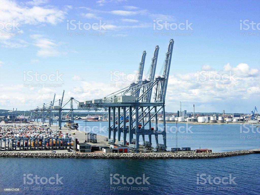 Port of Aarhus in Denmark stock photo