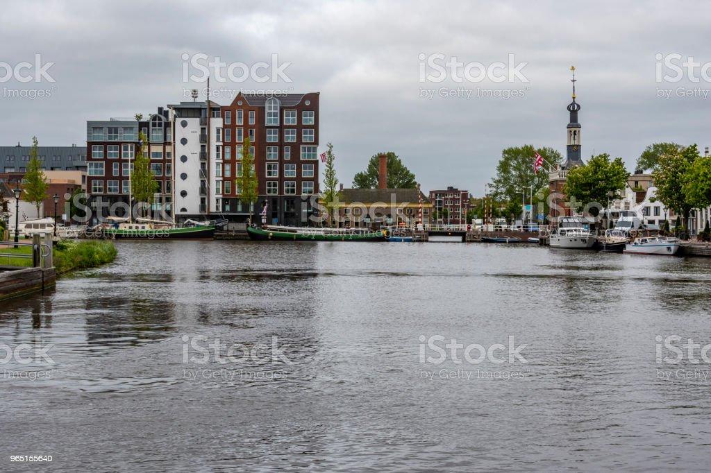 Port of Alkmaar entering the Netherlands Holland zbiór zdjęć royalty-free