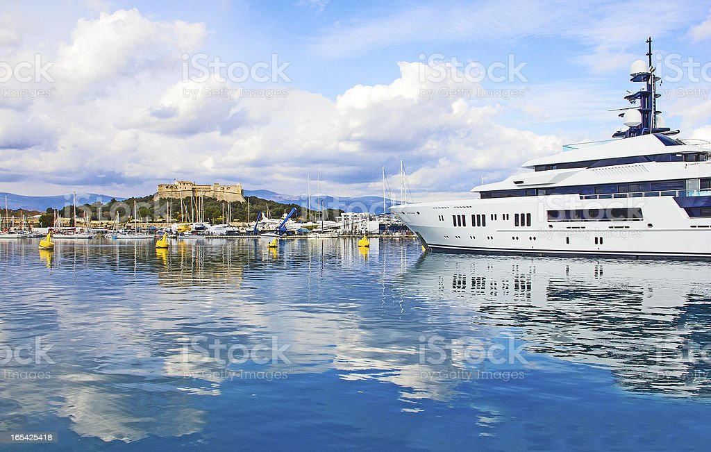 Port of Antibes and the fortress stock photo