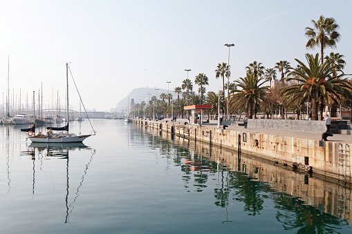 Port of Barcelona view at morning