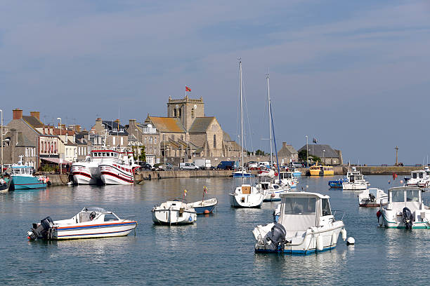 Port of Barfleur in France Port and church of Saint-Nicolas of Barfleur, a commune in the peninsula of Cotentin in the Manche department in Lower Normandy in north-western France cherbourg stock pictures, royalty-free photos & images