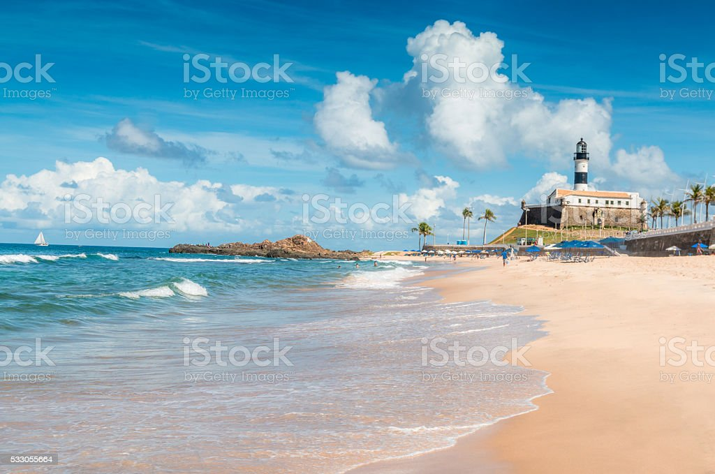 Porto da Barra Beach in Salvador Brazil stock photo