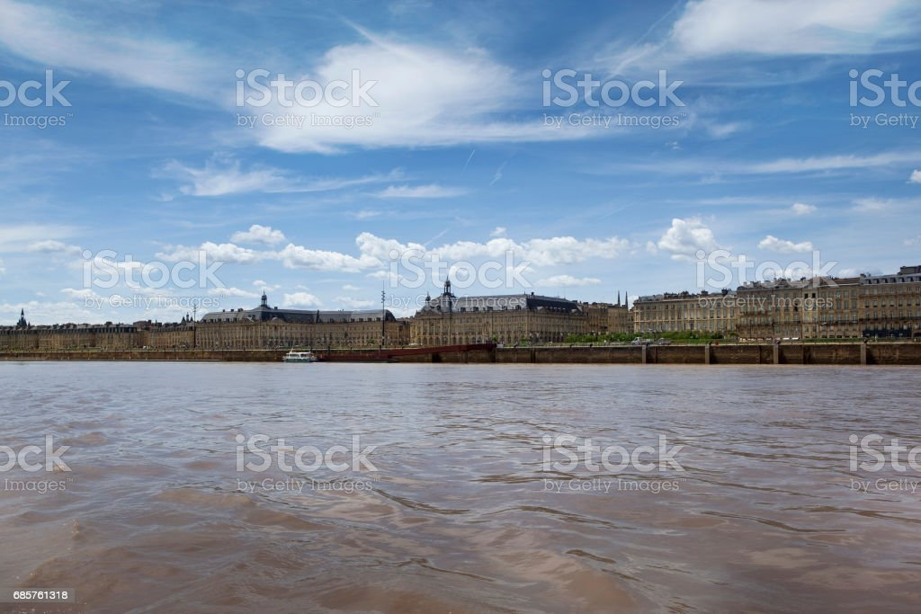 Port of Bordeaux and river Garonne in France royalty free stockfoto