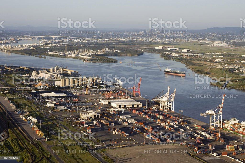 Port of Brisbane Aerial View stock photo