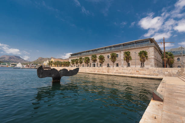 port of cartagena city, naval museum, murcia province, spain. - cartagena museum stock photos and pictures
