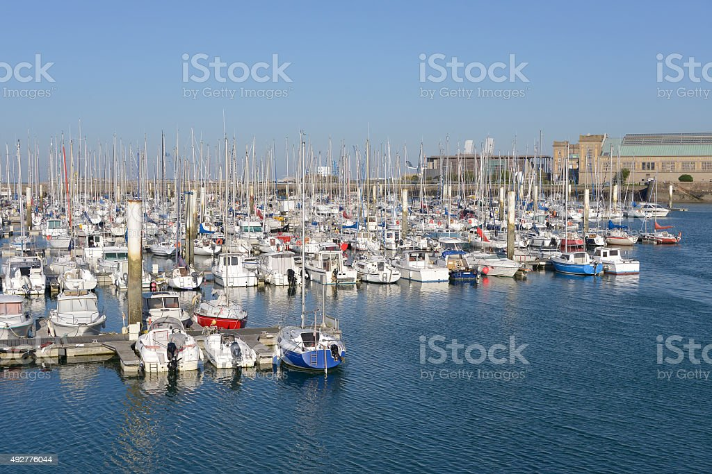 Port of Cherbourg in France stock photo
