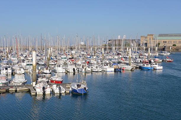 Port of Cherbourg in France Port of Cherbourg-Octoville, a commune in the peninsula of Cotentin in the Manche department in Lower Normandy in north-western France cherbourg stock pictures, royalty-free photos & images