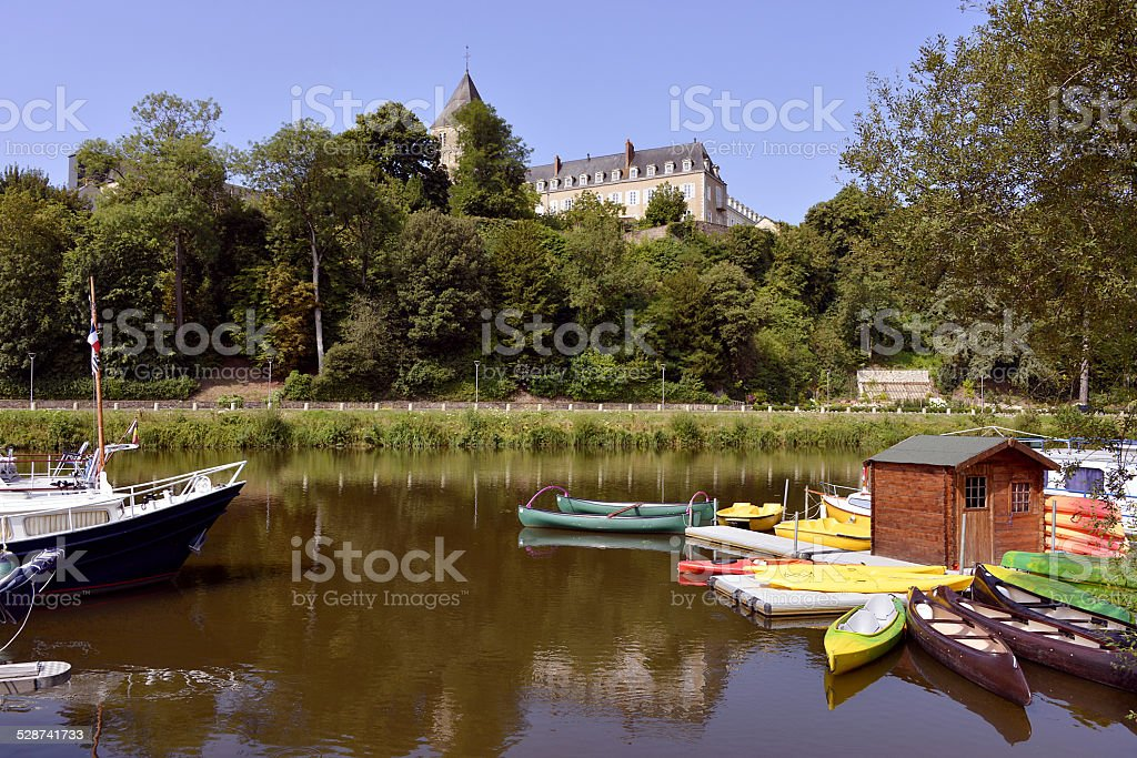 Port of Château-Gontier in France stock photo