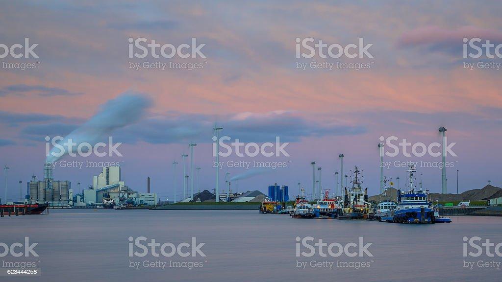 Port of Eemshaven under beautiful sunset stock photo