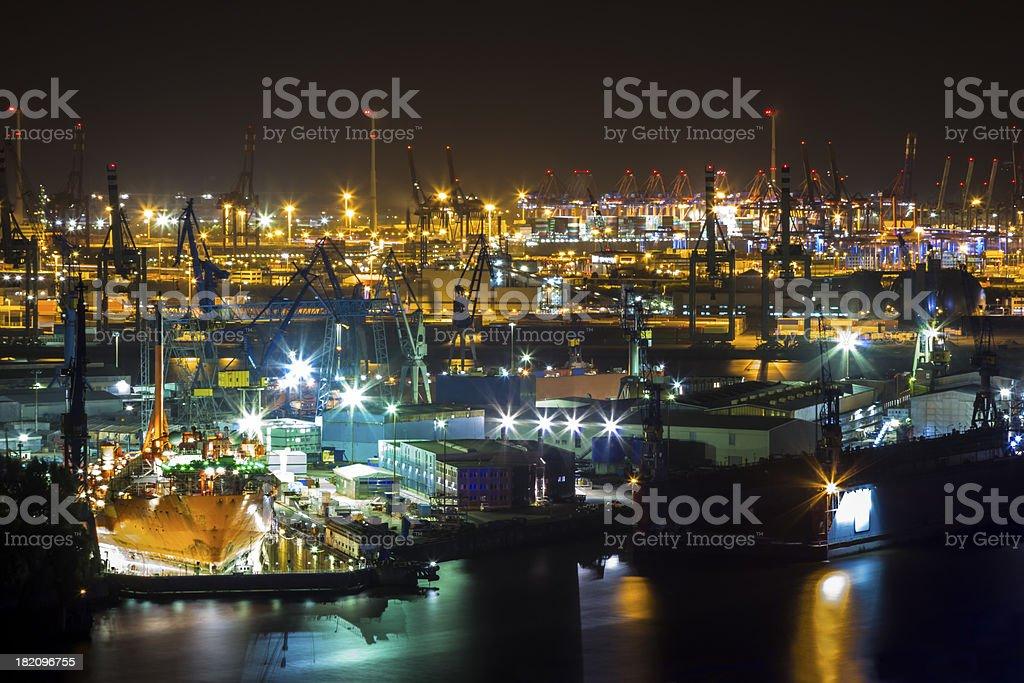 Port of Hamburg at night from Above royalty-free stock photo