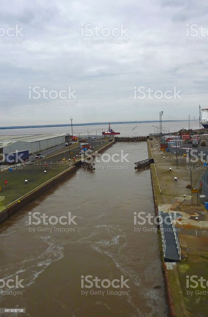 Port of Hull ferry terminal gates stock photo