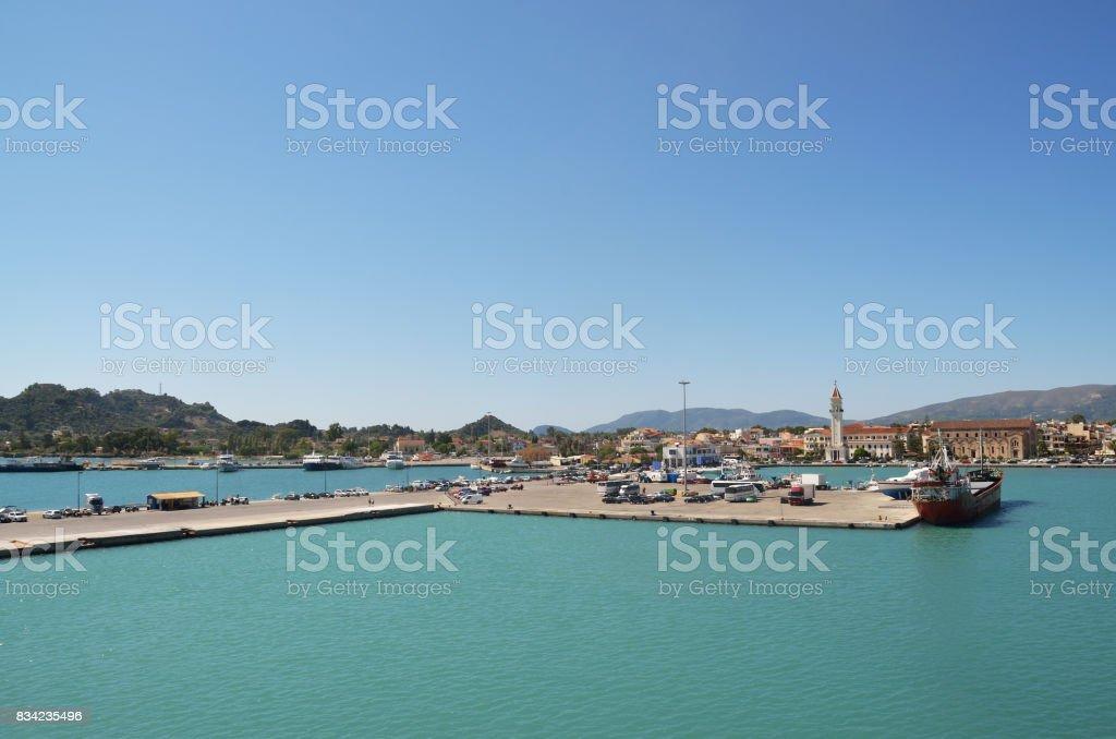 Port of  island Zakynthos stock photo