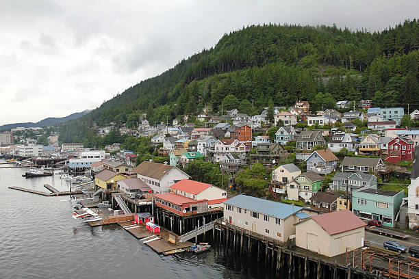 Port of Ketchikan in Alaska View of the Port of Ketchikan, Alaska as Seen From a Cruise Ship ketchikan stock pictures, royalty-free photos & images
