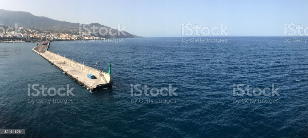 Port of La Palma, from the sea stock photo