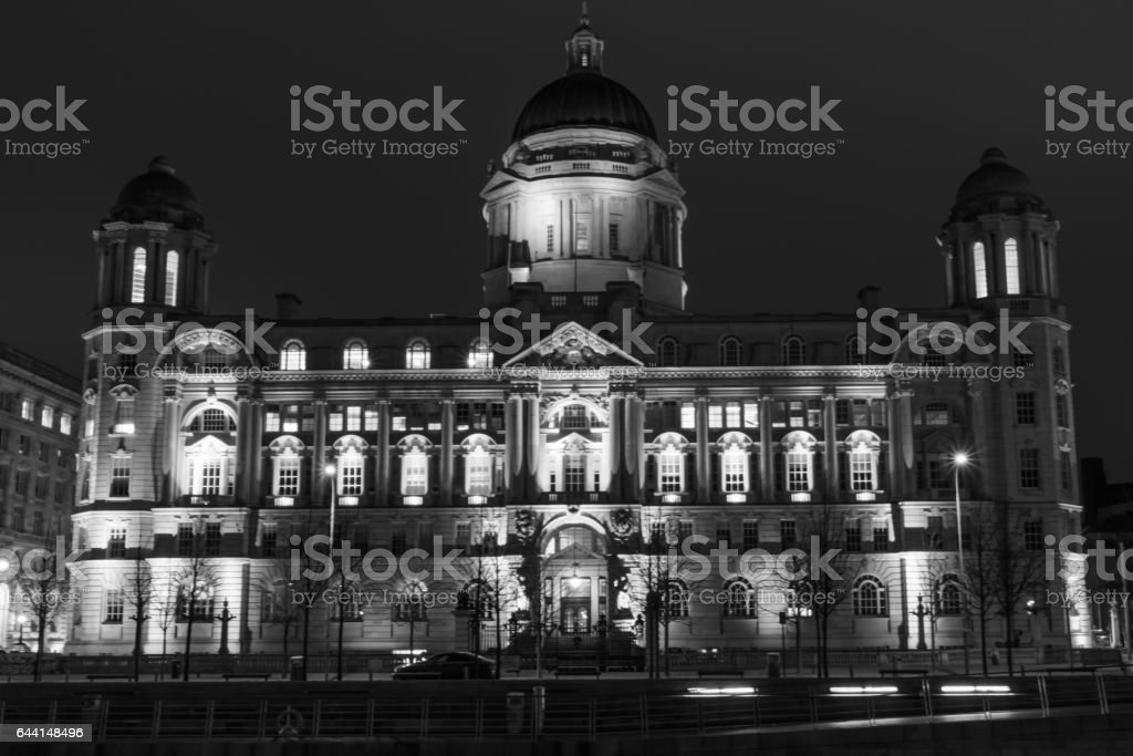 Port of Liverpool Building At Night stock photo