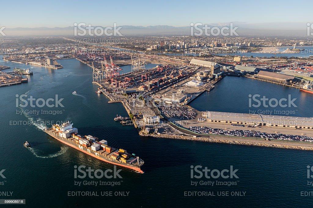 Port of Long Beach Cargo Facilites Aerial View stock photo
