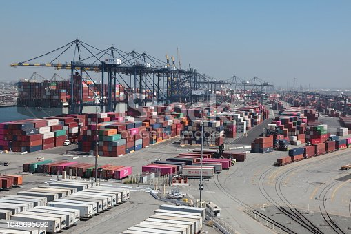 View of Los Angeles Container Terminal in San Pedro California.