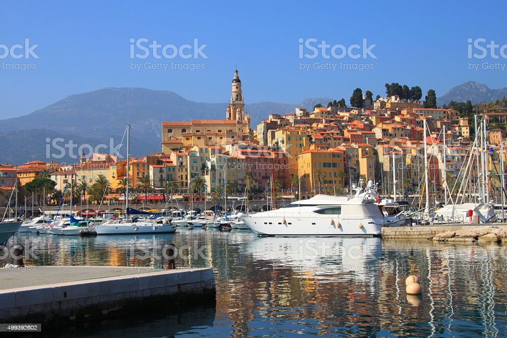 Port de Menton, France stock photo
