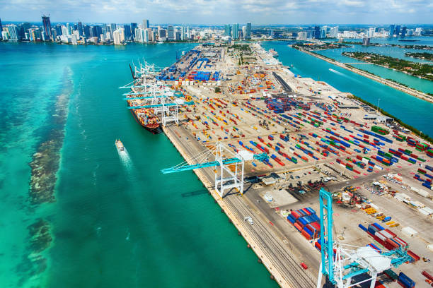 port of miami aerial view - harbor stock photos and pictures