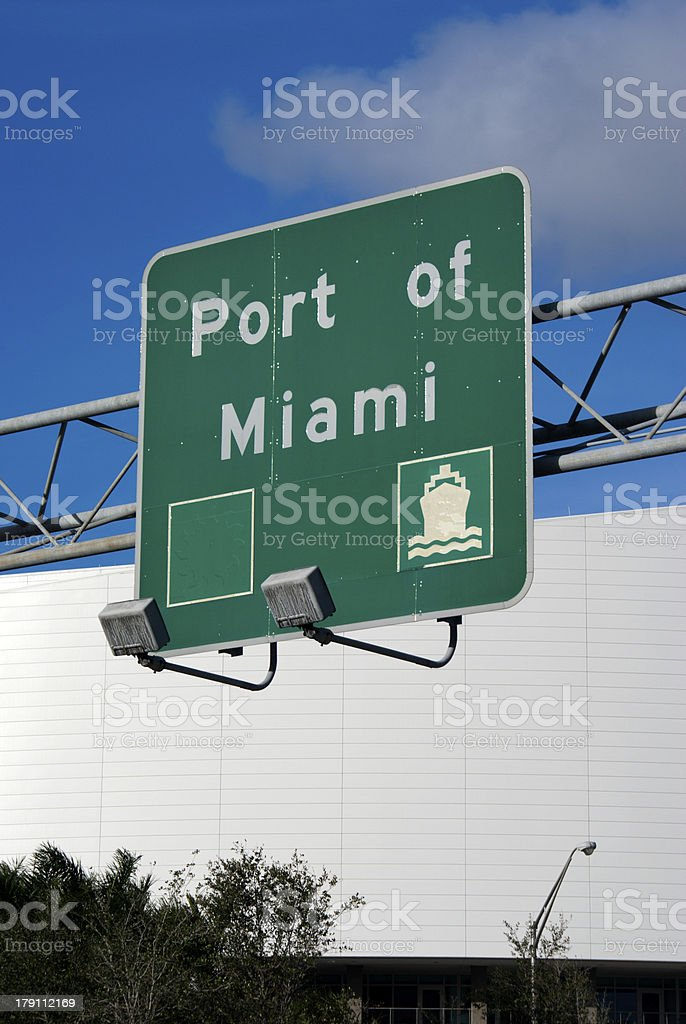 Port of Miami Road Sign stock photo