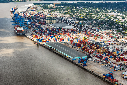 New Orleans, United States - September 28, 2018:  Aerial view of the busy Port of New Orleans, Louisiana.