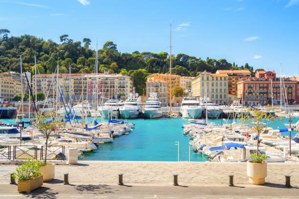 Port of Nice at a sunny summer day stock photo