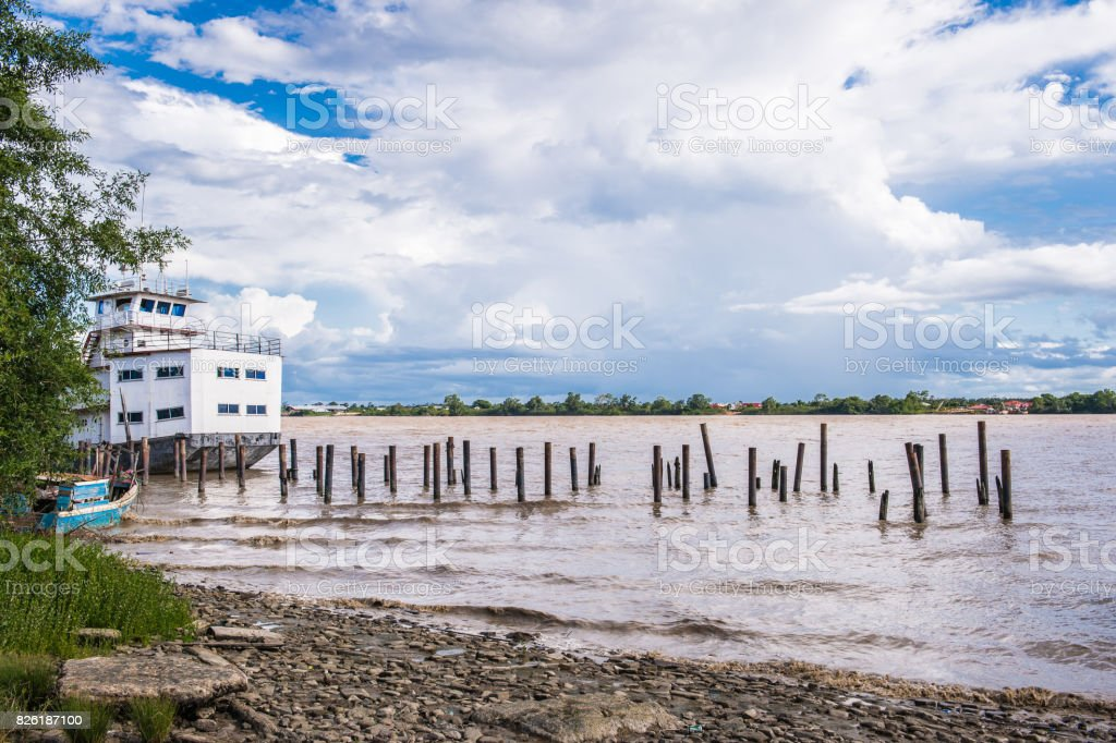 Port of Paramaribo in Suriname stock photo