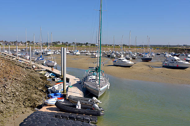 Port of Portbail in France Port at low tide of Port-Bail or Porbail, a commune in the peninsula of Cotentin in the Manche department in Lower Normandy in north-western France cherbourg stock pictures, royalty-free photos & images