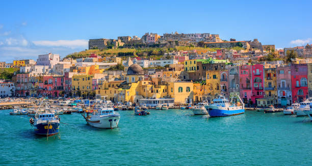 Port of Procida island in Gulf of Naples, Italy stock photo