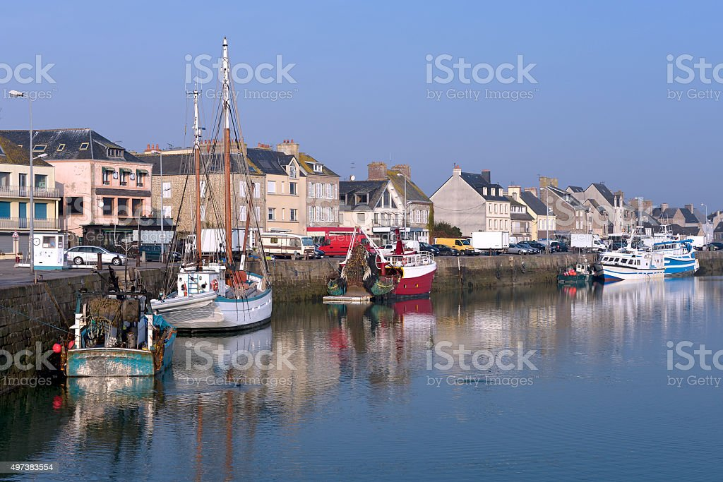 Port of Saint-Vaast-la-Hougue in France stock photo