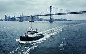 Tug boat during tug operations in San Francisco bay, USA