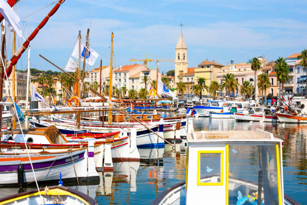 Port of Sanary-sur-Mer 2019, French Riviera, France stock photo
