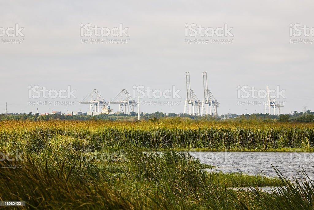 Port of Savannah GA: Cranes on the river stock photo