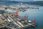 Aerial view of the Port of Seattle and Harbor Island