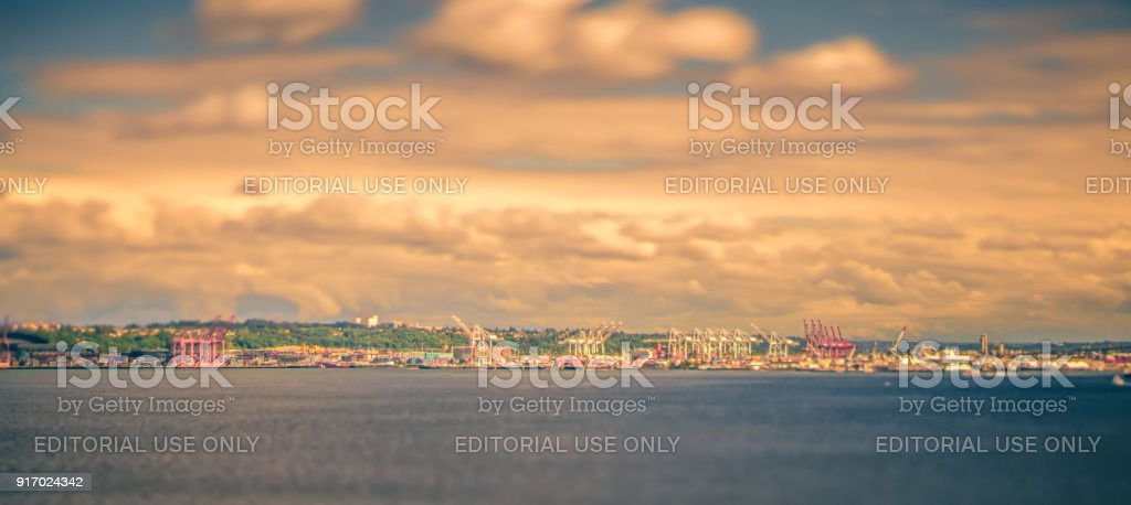 port of seattle views at sunset stock photo