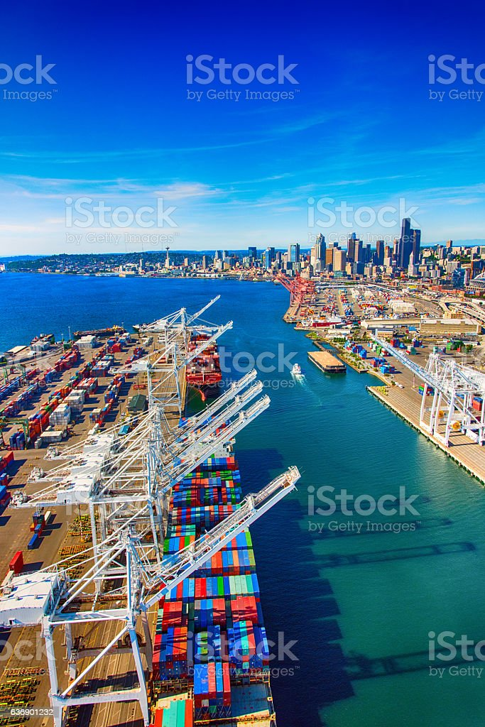 Port of Seattle Washington Aerial stock photo