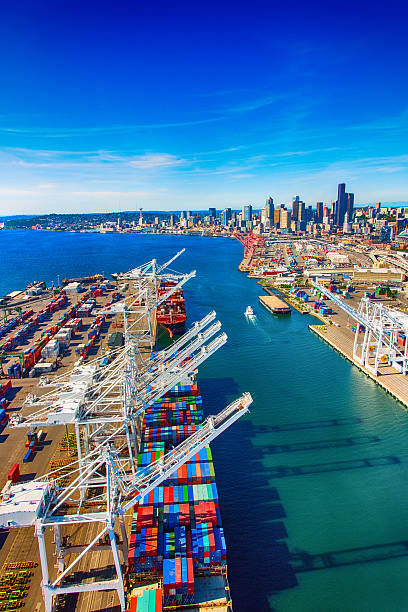 Port of Seattle Washington Aerial stock photo