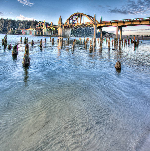 Port of Siuslaw River Bridge Oregon Coast Historic Drawbridge HDR stock photo