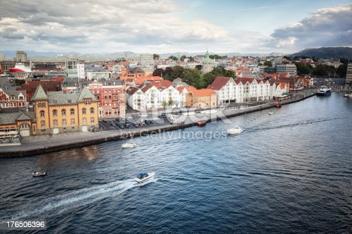Elevated view from the water of the town of Stavanger, Norway in Scandinavia Europe