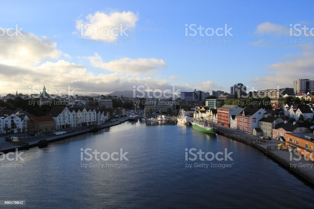 Port of Stavanger view from the ocean royalty-free stock photo