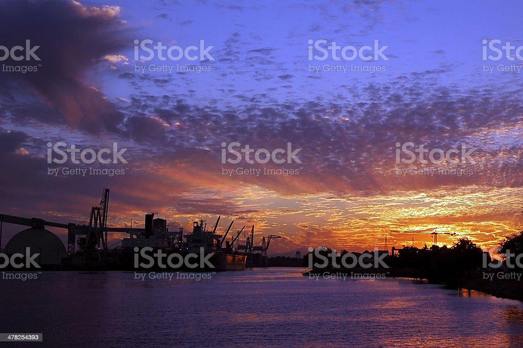 Port of Stockton at Sunset stock photo