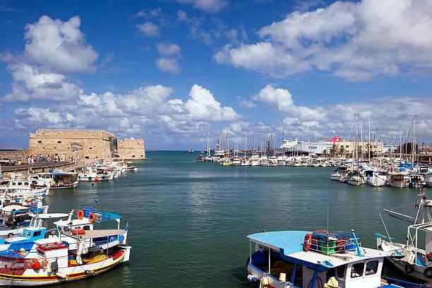 Port of the city Iraklion stock photo
