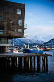 Port Of Tromso With Boats Moored