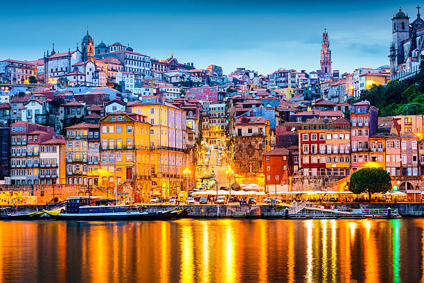 porto portugal skyline - portugal stock photos and pictures