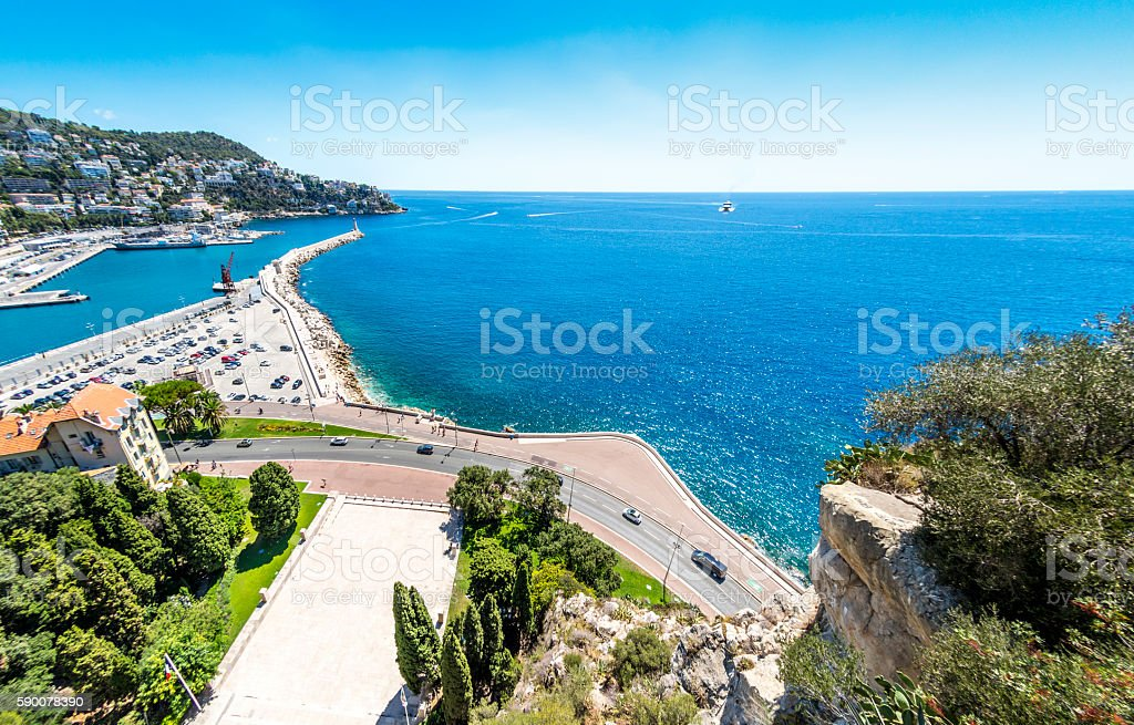 Port road in Nice, France stock photo
