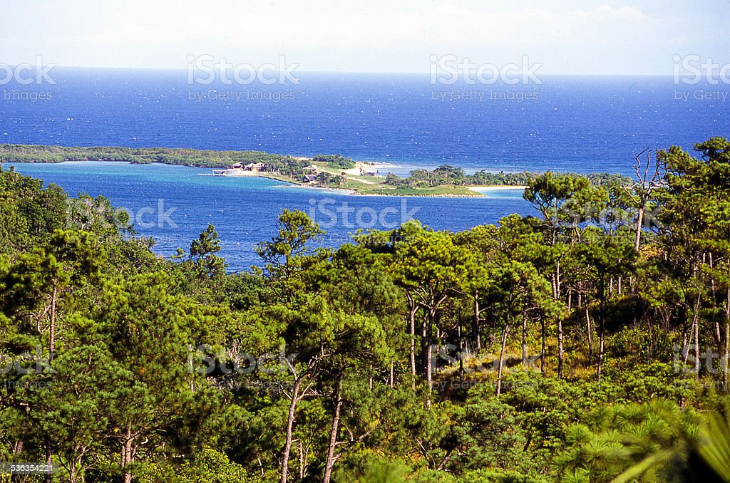 Port Royal Harbor Fort Morgan Cay Roatan Bay Islands Honduras stock photo