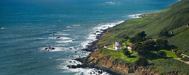 Port San Luis Lighthouse Aerial View of Coast Line - Central Coast California
